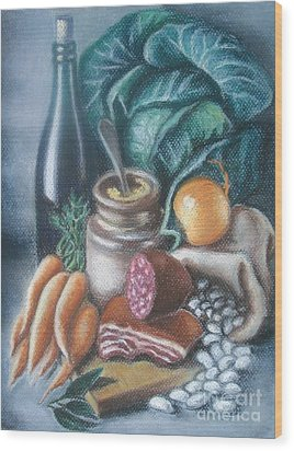 Wood Print featuring the painting Time For Soup by Inese Poga