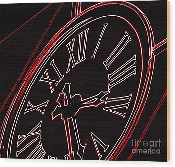 Time In Red And Black Wood Print