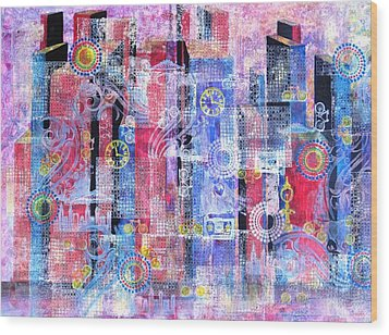 Time In The City Wood Print by David Raderstorf