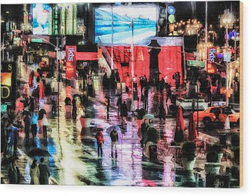 Time Square In The Rain Wood Print