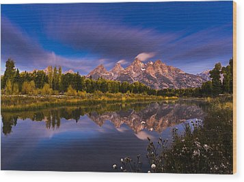 Time Stops Over Tetons Wood Print by Edgars Erglis
