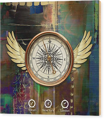 Wood Print featuring the mixed media Time To Fly by Marvin Blaine