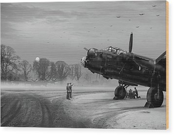 Wood Print featuring the photograph Time To Go - Lancasters On Dispersal Bw Version by Gary Eason
