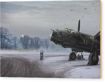 Wood Print featuring the photograph Time To Go - Lancasters On Dispersal by Gary Eason