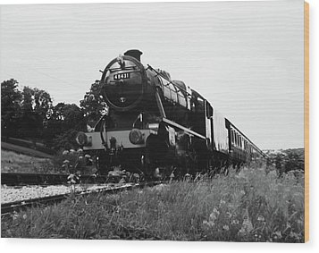 Wood Print featuring the photograph Time Travel By Steam B/w by Martin Howard