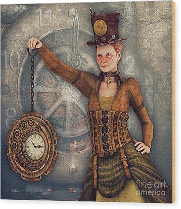 Wood Print featuring the digital art Timekeeper by Jutta Maria Pusl
