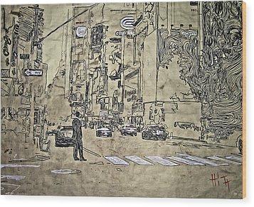 Times Square - That Man Wood Print by Jacob  Hitt