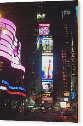 Times Square 1 Wood Print by Anita Burgermeister