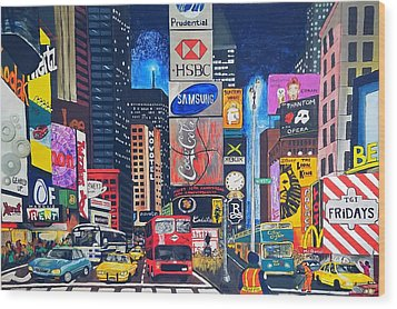 Times Square Wood Print by Autumn Leaves Art