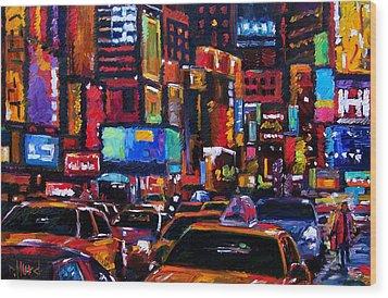 Times Square Wood Print by Debra Hurd