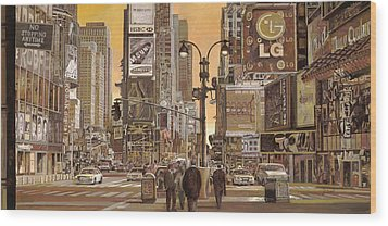 Times Square Wood Print by Guido Borelli