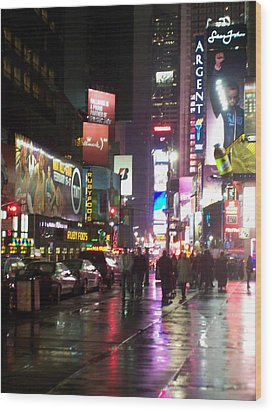 Times Square In The Rain 1 Wood Print by Anita Burgermeister