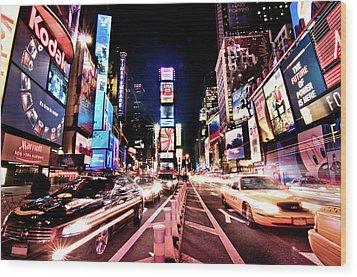 Times Square, Manhattan, New York Wood Print by Josh Liba