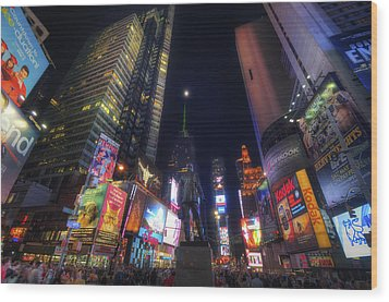 Times Square Moonlight Wood Print