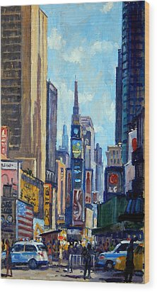 Times Square Morning New York City Wood Print by Thor Wickstrom
