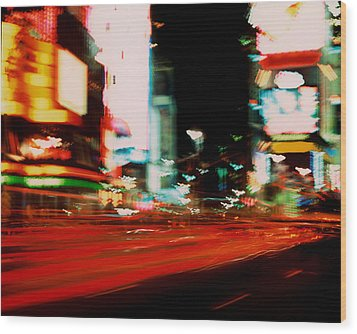 Times Square Painted Wood Print by Brad Rickerby