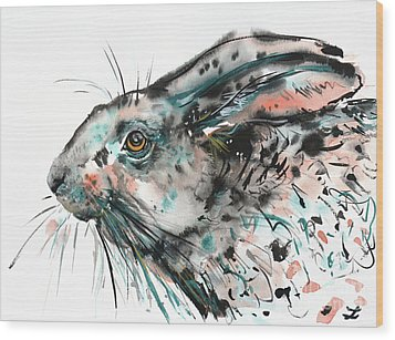 Wood Print featuring the painting Timid Hare by Zaira Dzhaubaeva