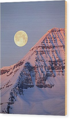 Wood Print featuring the photograph Timp Full Moon Composite by Johnny Adolphson