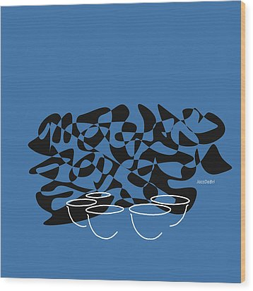 Timpani In Blue Wood Print by David Bridburg