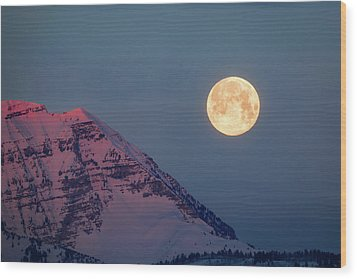 Wood Print featuring the photograph Timpanogos With The Pink Moon. by Johnny Adolphson