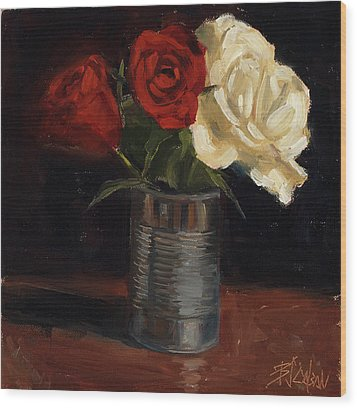 Wood Print featuring the painting Tin Can Love by Billie Colson
