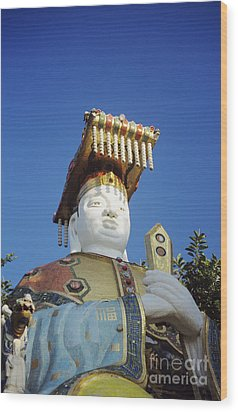 Tin Hua Temple Colorful Statue Wood Print by Gloria and Richard Maschmeyer - Printscapes