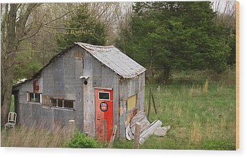 Tin Phillips 66 Shed Wood Print by Grant Groberg