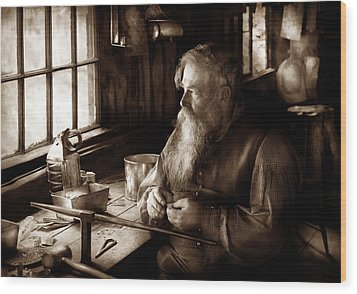 Tin Smith - Making Toys For Children - Sepia Wood Print by Mike Savad