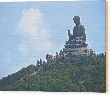 Tin Tan Buddha In Hong Kong Wood Print