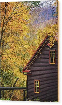 Tingler's Mill In Fall Wood Print