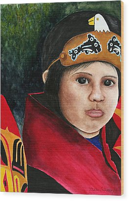 Tinglit Native Girl Wood Print by Mary Gaines
