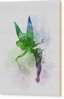 Tinker Bell Wood Print by Rebecca Jenkins