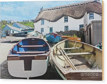 Tinker Taylor Cottage Sennen Cove Cornwall Wood Print by Terri Waters