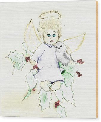 Tinted Little Angel Wood Print by Sonya Chalmers