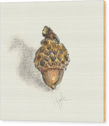 Tiny Acorn Wood Print by Christine Camp