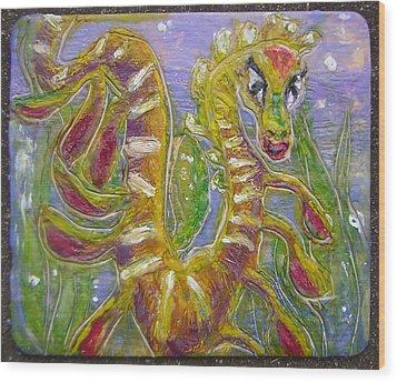 Tiny Anthropomorphic Sea Dragon 3 Wood Print by Michelley QueenofQueens