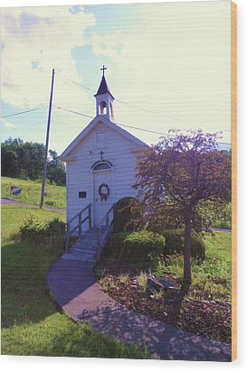 Tiny Church In The Valley Wood Print by Jeanette Oberholtzer