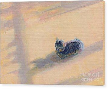 Tiny Kitten Big Dreams Wood Print by Kimberly Santini