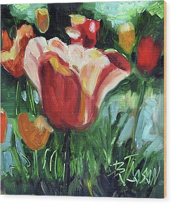 Wood Print featuring the painting Tip Toe Thru The Tulips by Billie Colson