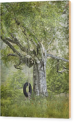Tire Swing Hanging Off A White Birch Wood Print by Betty  Pauwels