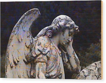 Tired Angel Wood Print by Nareeta Martin
