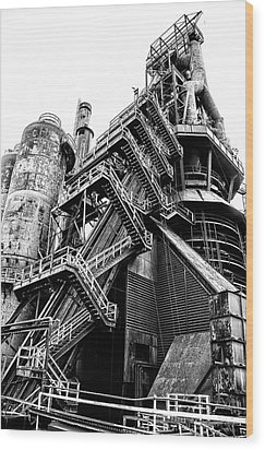 Titan Of Industry - Bethlehem Steel Mill In Black And White Wood Print by Bill Cannon