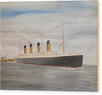 Titanic Departing Queenstown Wood Print by James McGuinness