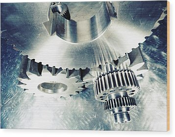 Wood Print featuring the photograph Titanium Aerospace Cogs And Gears by Christian Lagereek