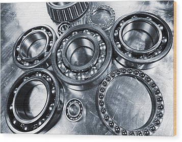 Wood Print featuring the photograph Titanium And Steel Ball-bearings by Christian Lagereek