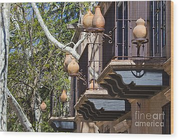 Wood Print featuring the photograph Tlaquepaque Balconies by Chris Dutton