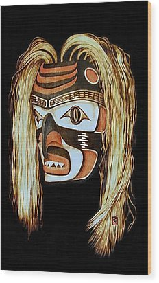 Tlingit Shark Mask In Color Wood Print by Cynthia Adams