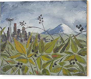 To Get To The City You Must Go Thru The Blackberries Wood Print by Carolyn Doe
