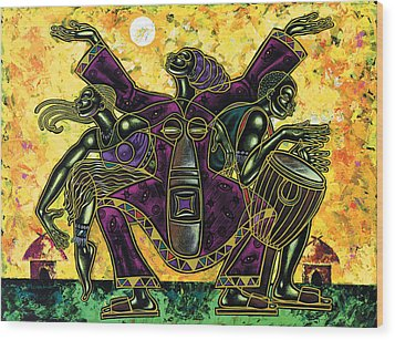 To The Beat Of The Drum Wood Print by Larry Poncho Brown