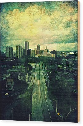 To The City Wood Print by Cathie Tyler